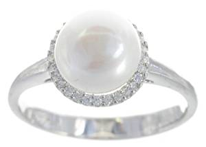 lassical 925 Sterling Silver 8.5mm Freshwater Cultured Pearl Women Ring with Cubic Zirconia/CZ
