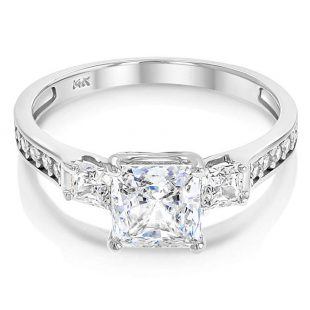 oka - 14k Solid Yellow OR White Gold 1.5 Ct. Cubic Zirconia CZ 3 Stone Princess Cut Engagement Ring Band
