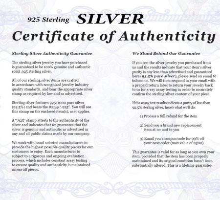 silver certificate of authencity