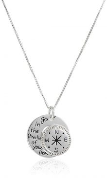 "terling Silver ""Go in the Direction Of Your Dreams"" with Compass Pendant Necklace, 18"""
