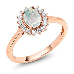 0K Rose Gold Cabochon White Simulated Opal and White Created Sapphire Women's Ring 0.87 Ctw (Available 5,6,7,8,9)