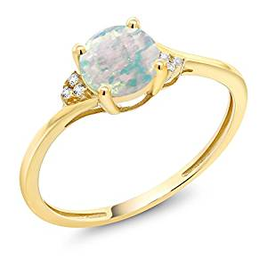 10k Yellow Gold Diamond Accent Engagement Ring Set with 6mm 0.35 Ct Cabochon White Simulated Opal (Available 5, 6, 7, 8, 9)