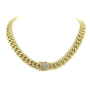 12mm Miami Cuban Link Chain – 25ct TW VVS Lab Diamonds – 14k Gold Plated Stainless Steel – Iced Out Bling
