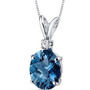 14 Karat White Gold Oval Shape 3.00 Carats London Blue Topaz Diamond Pendant