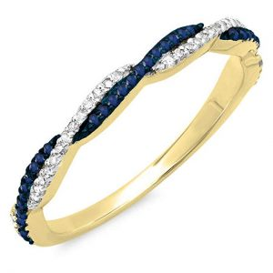 14K Gold Round Blue Sapphire & White Diamond Ladies Anniversary Wedding Band Swirl Stackable Ring