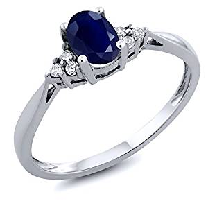 14K White Gold Blue Sapphire and Diamond Women's Ring 0.61 cttw (Available 5,6,7,8,9)