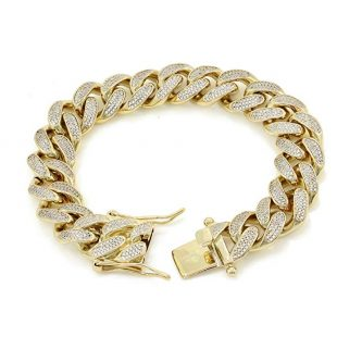 "15mm 8.5"" Miami Cuban Link Bracelet - 18ct TW VVS Lab Diamonds - 14k Gold Plated Stainless Steel - Iced Out Bling - Looks Just Like Real Gold"