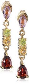 18k Yellow Gold Plated Sterling Silver Genuine Multi Gemstone Dangle Earrings