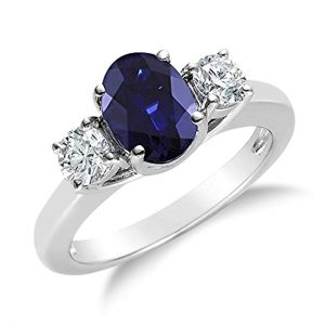 2.00 CTW Genuine diamond and oval sapphire 3 stone ring in 14k white gold