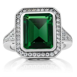 5.00 Ct Vintage Women's 925 Sterling Silver Octagon Cut Nano Emerald Ring (Available 5,6,7,8,9)