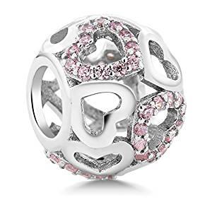 9. Pink CZ Heart Inlay Round Bracelet Bead Charm Compatible W/Pandora Bracelets