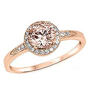 925 Sterling Silver Halo Ring Rose Tone Rhodium PL Round Simulated Morganite Clear CZ Promise Ring
