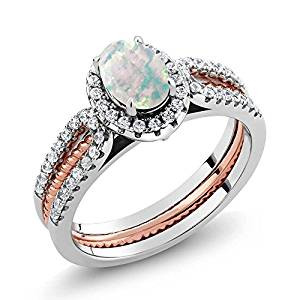 925 Two-Tone Sterling Silver Simulated Opal Wedding Band Insert Ring 1.25 Ctw (Available 5,6,7,8,9)
