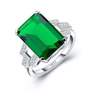 ANGG Women 5.9ct Green Emerald Ring 925 Sterling Silver Engagemen Wedding Jewelry