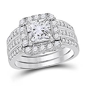 Allyanna Gifts 925 Sterling Silver 0.75 ct CZ Princess-cut Stackable Wedding Engagement Ring Set Size 5-10