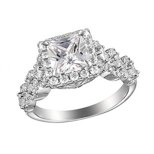 Allyanna Gifts 925 Sterling Silver 2 ct CZ Square-cut Stackable Wedding Engagement Ring Size 5-10
