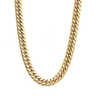 Authentic Bling Miami Cuban Link Necklace Chain, 12mm, 28 Inches & 26 Inches, Hip Hop Fashion, Heavy Thick 14k Gold Plated Over Stainless Steel with Thick Box Clasp for Men