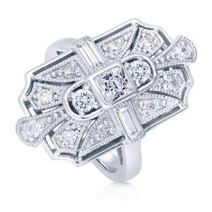 BERRICLE Rhodium Plated Silver Princess Cut Cubic Zirconia CZ Art Deco Cocktail Statement Ring