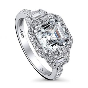 BERRICLE Rhodium Plated Sterling Silver Asscher Cut Cubic Zirconia CZ Halo Art Deco Engagement Ring