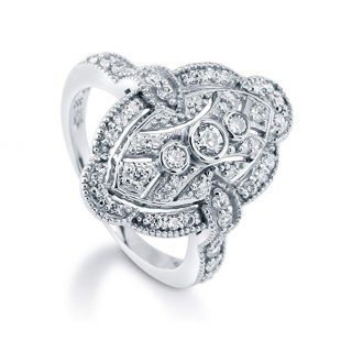 BERRICLE Rhodium Plated Sterling Silver Cubic Zirconia CZ Art Deco Fashion Right Hand Ring