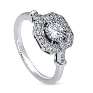 BERRICLE Rhodium Plated Sterling Silver Cubic Zirconia CZ Art Deco Ring