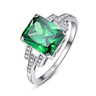 BONLAVIE Women's Square Cut Created Green Emerald 925 Sterling Silver Wedding Anniversary Engagement Ring