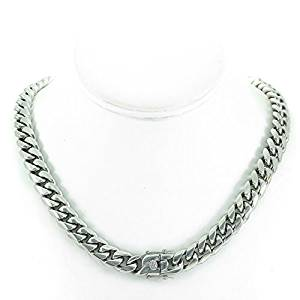 Bling Bling NY Solid Silver Finish Stainless Steel 12mm Thick Miami Cuban Link Chain Box Clasp Lock