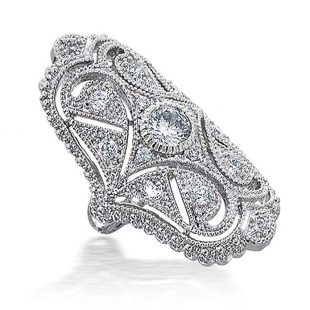 Bling Jewelry Clear CZ Vintage Style Full Finger Rhodium Plated Ring