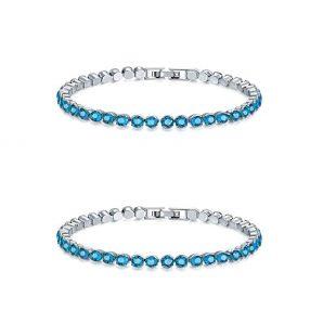 CARSINEL Colorful Round Cut 4mm Cubic Zirconia CZ Tennis Bracelet for Women 1-2 PCS