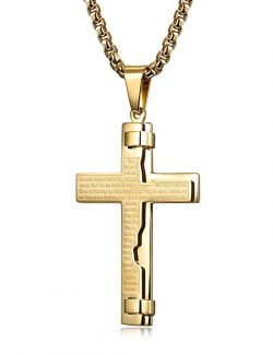 CIUNOFOR Gold Tone Cross Necklace for Men Boys Prayer Stainless Steel Pendant Necklace 24-30 inches