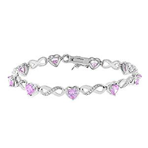Cate & Chloe Amanda 18k Infinity Heart Tennis Bracelet, White Gold Plated Bangle Bracelet with Unique Infinity Chain Design & Heart CZ Stones, Sparkling Charm Bracelets for Women