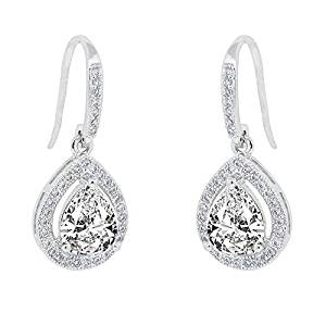 Cate & Chloe Isabel 18k White Gold Teardrop CZ Earrings, Drop Dangle-Earrings, Best Silver Earrings for Women, Girls, Ladies, Halo Drop Earrings with CZ Crystals