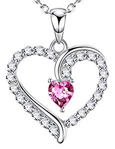 Dorella – October Birthstone Love Heart Pendant Necklace Pink Tourmaline Fine Jewelry Gifs for Women Her Sterling Silver Swarovksi