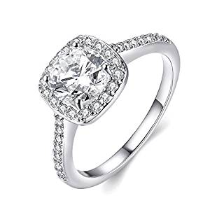 EnjoIt Silver Plated CZ Crystal Square Rings Wedding Rings for Women C1860