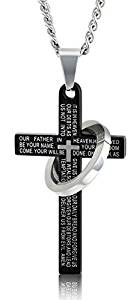FIBO STEEL Stainless Steel Mens Womens Cross Necklace Lord's Prayer Pendant 24 inches, 3 Colors Available