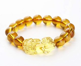 Feng Shui Citrine Gem Stone Wealth Porsperity 12mm Bracelet with Pi Xiu Pi Yao, Attract Wealth and Good Luck, Deluxe Gift Box Included