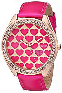 GUESS Women's UO535L1 Pink Heart Watch