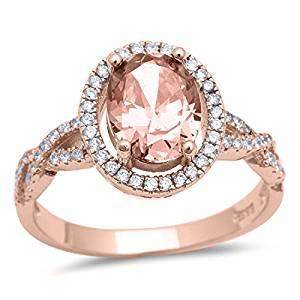 Halo Infinity Shank Ring Oval Simulated Morganite Round CZ Rose Tone Plated 925 Sterling Silver $21.84