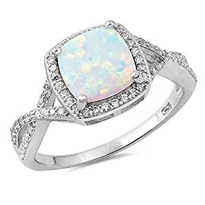 Infinity Style Twisted Prong Cubic Zirconia and White Opal. 925 Sterling Silver Ring Sizes 5-10