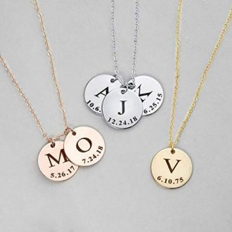 Initial Disc Necklace Coin Graduation Gift Children Gift Personalized Initial Jewerly New Baby
