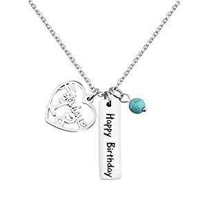 KUIYAI Happy Birthday Necklace Sweet 12th 16th 18th Birthday Gift Jewlery with Turquoise Bead KUIYAI Happy Birthday Necklace Sweet 12th 16th 18th Birthday Gift Jewlery with Turquoise Bead