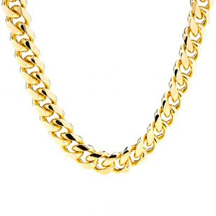 Lifetime Jewelry Cuban Link Chain 11MM Round 24K Gold Plated Thick Necklace Guaranteed for Life Available from 18-36 Inches