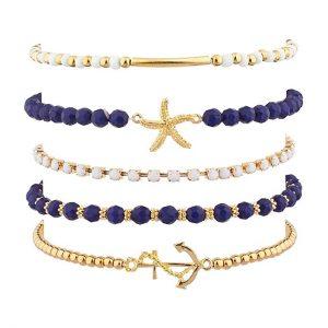 Lux Accessories Ocean Sea Nautical Starfish Anchor Arm Candy Set (5PC)