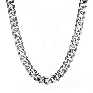 Mens Stainless Steel Silver Tone 15MM Heavy Cuban Curb Link Chain Bracelet Necklace