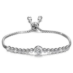 "NINASUN ""The Little Mermaid"" Adjustable 6"" - 9"" 925 Sterling Silver AAAA CZ Chain Bracelet Fine Jewelry for Women"