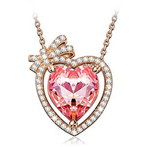 NINASUN Rose Gold Heart Necklace 925 Sterling Silver Fallen in Love Pendant Necklace, Crystals from Swarovski