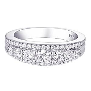 Newshe Eternity Ring Wedding Band for Women 925 Sterling 1.13ct Round White AAA Cz Size 5-10