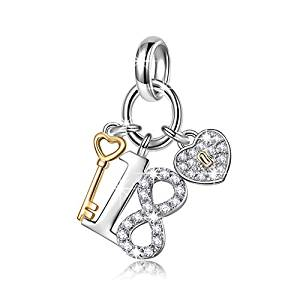 NinaQueen Lucky No.18 925 Sterling Silver 18 Years Old Birthday Gift Heart Key Pendant Dangle Charms, Ideal Adults Gift for Daughter