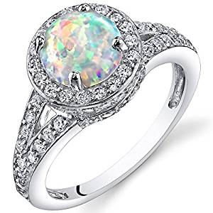 PEORA Created Opal Halo Ring Sterling Silver 1.25 Carats Sizes 5 to 9