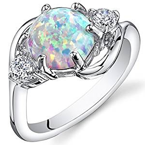 PEORA Created Opal Ring Sterling Silver 3 Stone 1.75 Carats Sizes 5 to 9